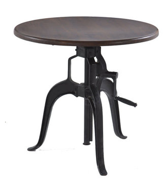 HOME TRENDS SIDE TABLE 36IN ROUND ADJUSTABLE WALNUT