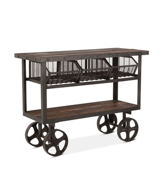 HOME TRENDS FIT-CRT48 CART TABLE - WOOD TOP