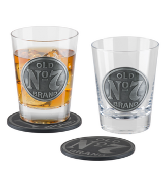 JD OLD NO. 7 Double Old Fashioned GLASS & COASTER SET JACK DANIELS