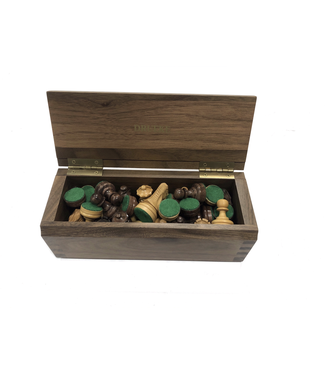 Drueke Druke Walnut Box with Wooden Chess Pieces