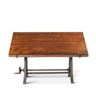 "HOME TRENDS 62"" Industrial Loft Adjustable Drafting Desk - Table Walnut"