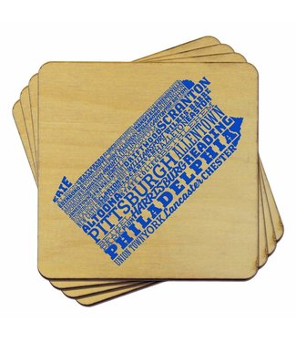 Torched Pennsylvania Typography Coasters (Set of 4)