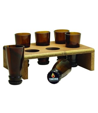 Torched Shot Glass Shooter Deck / Beer Bottle Shot Glasses - 6pc Set