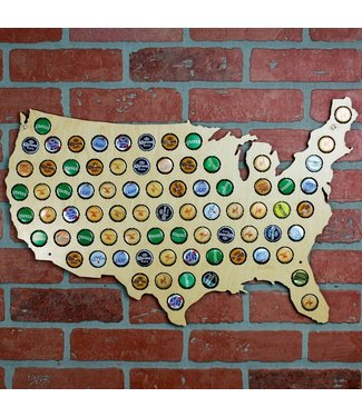 Beer Cap Map of the USA Wall Art