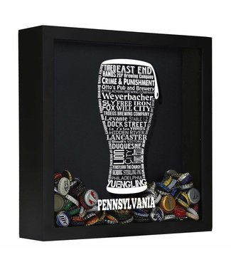 Typography Beer Cap Shadow Box - PENNSYLVANIA