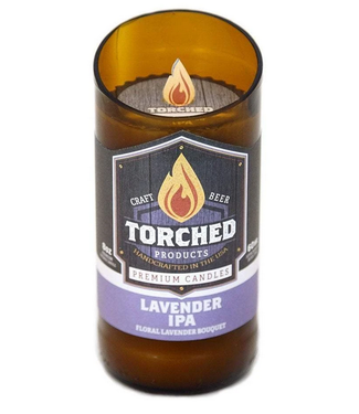 Torched Lavender Beer Bottle Candle 8oz
