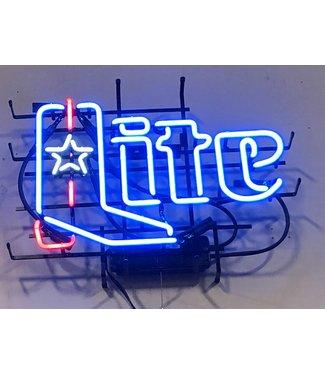 Miller Lite Texas Star Boot Neon Beer Sign