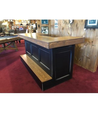 "96"" (8ft) Custom 2 Tone Black and Dark Oak Bar with Solid Foot Rest"
