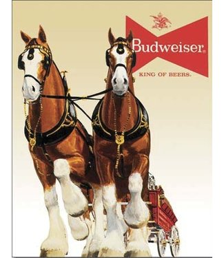 TN405 BUD  Budweiser King of Beers HORSE TIN