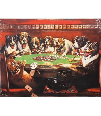 TN284 Dogs Playing Poker Tin
