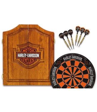 HARLEY DAVIDSON Harley Davidson H-D Bar & Shield Dart Board  Cabinet & Dart Set