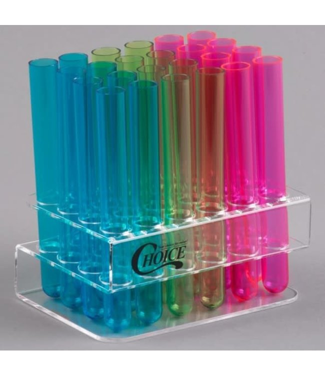 Choice Test Tube / Shooter Rack with 24 Assorted Neon Tube Shots, Shooters