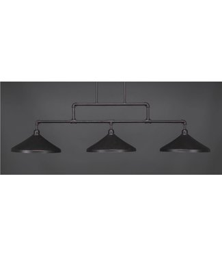"Toltec Lighting Vintage 3 Light Bar Shown In Dark Granite Finish With 14"" Dark Granite Cone Metal Shades  333-DG-422 Billiard Bar Light"