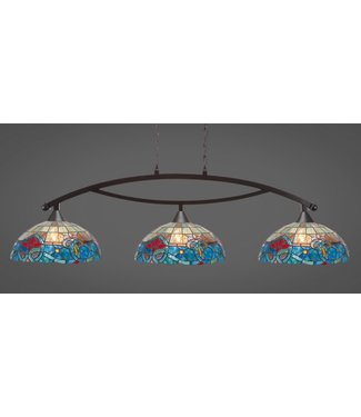 """Toltec Lighting 873-DG-935 Bow 3 Light Bar Shown In Dark Granite Finish With 16"""" Sierra Art Glass Billiard Bar Light"""