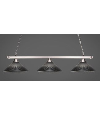 "Toltec Lighting 803-BN-4019 Square 3 Light Bar Shown In Brushed Nickel Finish With 16"" Black Matrix Glass Billard Bar Light"