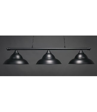 "Toltec Lighting 373-MB-429 Oxford 3 Light Bar Shown In Matte Black Finish With 16"" Matte Black Double Bubble Metal Shades Billiard Bar Light"