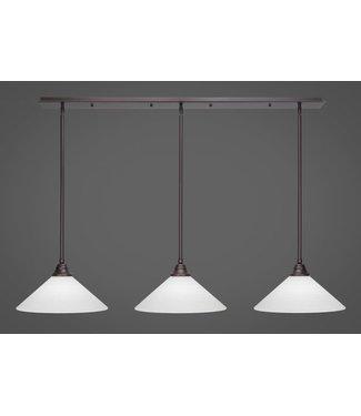 "Toltec Lighting 48-DG-4011 3 Light Linear Pendalier With Hang Straight Swivels Shown In Dark Granite Finish With 16"" White Matrix Glass Billiard Bar Light"