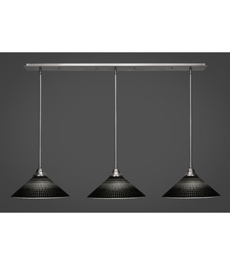 """Toltec Lighting 48-BN-4019 3 Light Linear Pendalier With Hang Straight Swivels Shown In Brushed Nickel Finish With 16"""" Black Matrix Glass Billiard Bar Light"""