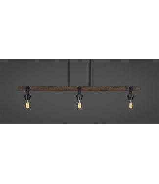 Toltec Lighting 1143-AT18 Portland 3 Light Island Bar With Amber Antique Bulbs Billiard Bar Light