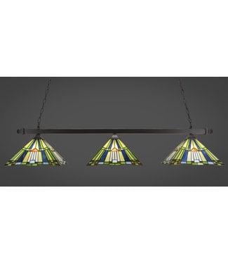 "Toltec Lighting 403-DG-981 Square 3 Light Bar With Square Fitters Shown In Dark Granite Finish With 14"" Tango Art Glass Billiard Bar Light"