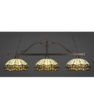 "Toltec Lighting 823-BRZ-997 Scroll 3 Light Bar Shown In Bronze Finish With 16"" Roman Jewel Art Glass Billiard Bar Light"