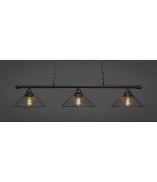"Toltec Lighting 373-DG-808-LED18A Oxford 3 Light Bar Shown In Dark Granite Finish With 14"" Dark Granite Cone Mesh Metal Shades And Amber Led Bulbs Billiard Bar Light"