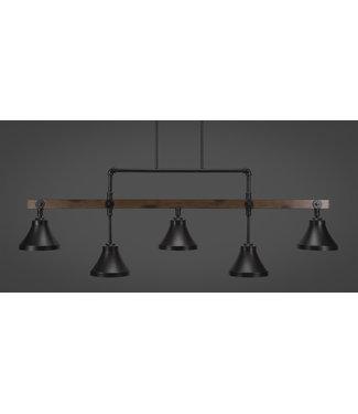 "Toltec Lighting 1145-410-DG Portland 5 Light Bar With 7"" Dark Granite Cone Metal Shades Billiard Bar Light"