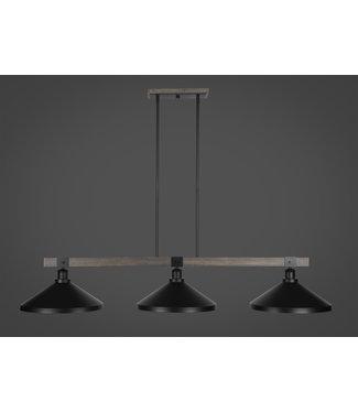 "Toltec Lighting 1863-MBDW-424-MB Tacoma 3 Light Bar In Matte Black & Painted Distressed Wood-look Metal Finish With 14"" Matte Black Metal Shades Billiard Bar Light"
