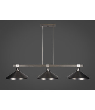 """Toltec Lighting 1863-GPDW-424-GP Tacoma 3 Light Bar In Graphite & Painted Distressed Wood-look Metal Finish With 14"""" Graphite Metal Shades Billiard Bar Light"""
