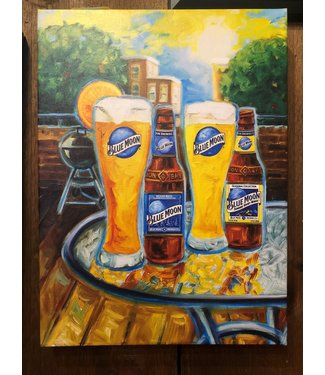 "BLUE MOON ""Summer"" CANVAS ART 14x19X2"
