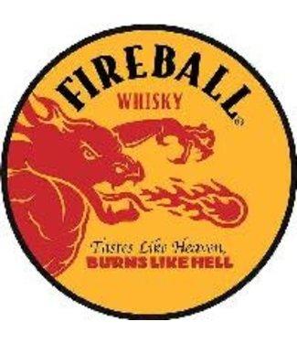 Fireball Yellow Metal Tin Circle Sign