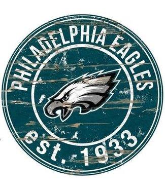 "Philadelphia Eagles 24"" Round Distressed Sign"
