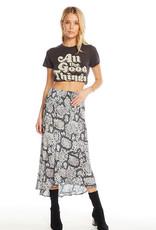 Chaser Silky Basics Smocked Waist Faux Wrap Midi Skirt