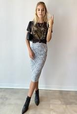Chaser Quadrablend Slit Back Midi Pencil Skirt