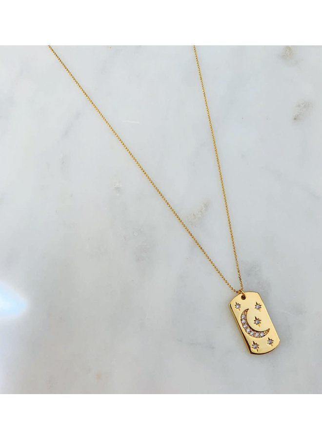 Moon & Star Tag Necklace