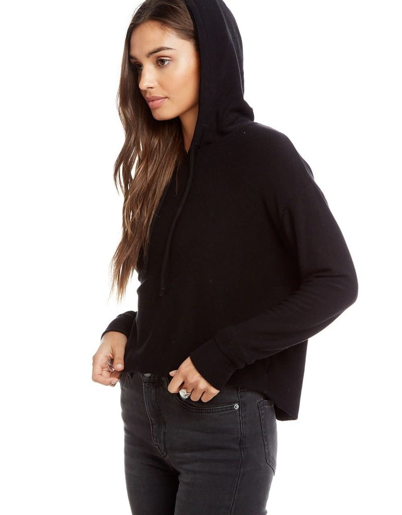 Chaser Cozy Knit Long Sleeeve Hi Lo Cropped Hoodie