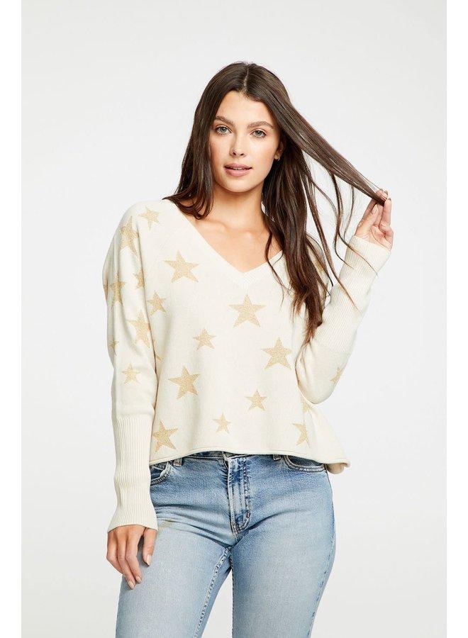 Star Intarsia V-Neck Raglan Pullover