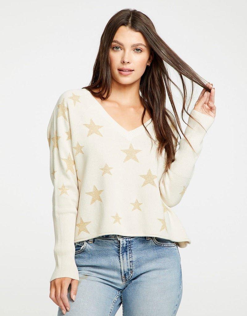 Chaser Star Intarsia V-Neck Raglan Pullover