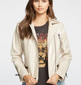 Chaser Shiny Vinyl Moto Jacket W/ Zippers