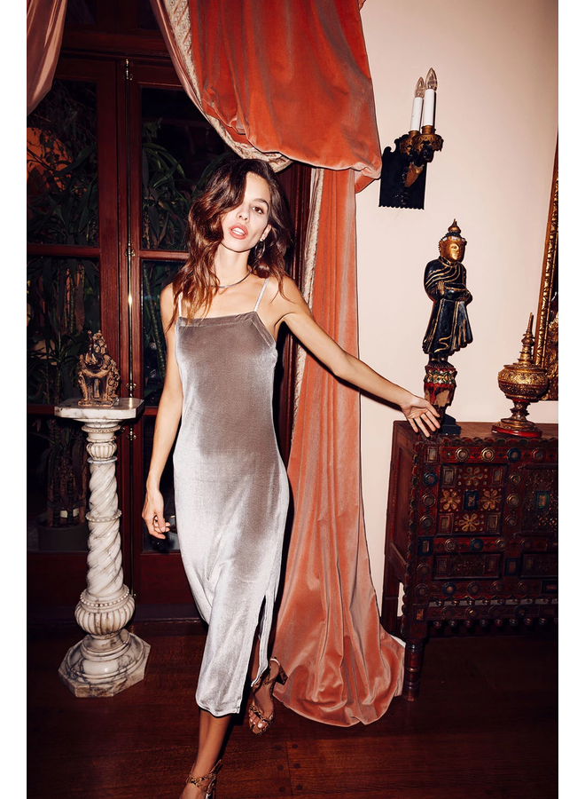 Stretch Velvet V Back Midi Cami Dress