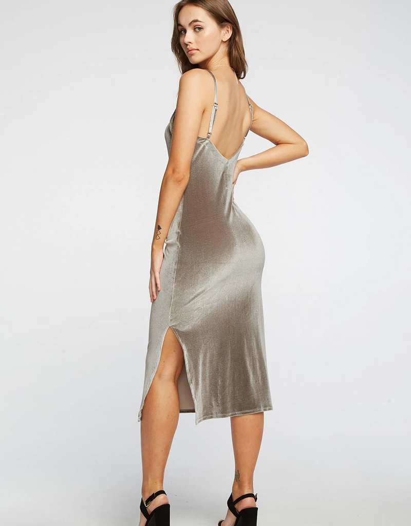 Chaser Stretch Velvet V Back Midi Cami Dress