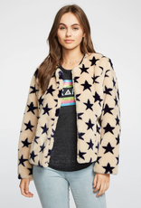 Chaser Star Faux Fur Collarless Jacket