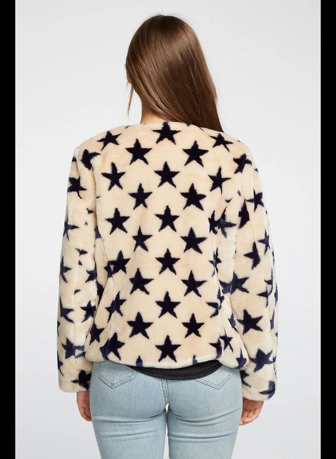Star Faux Fur Collarless Jacket