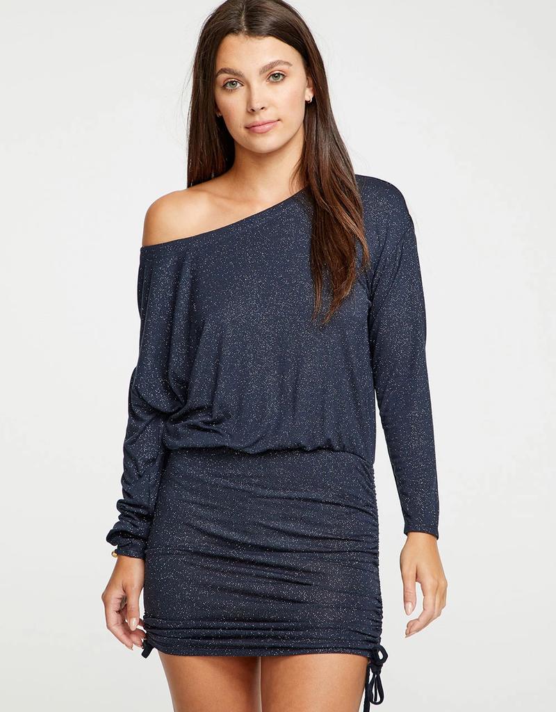 Chaser Diamond Jersey Drop Shoulder Drawstring Off Shoulder Mini Dress