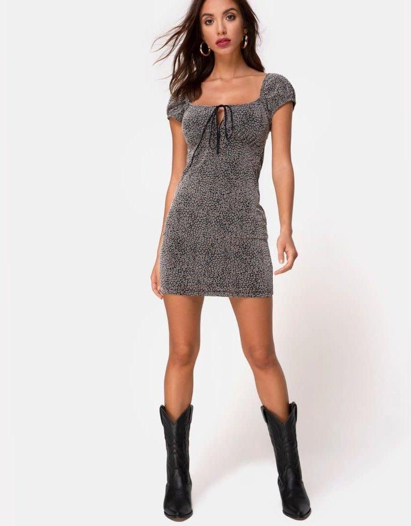Motel Rocks Gala Dress in Ditsy Leopard Grey Flock by Motel