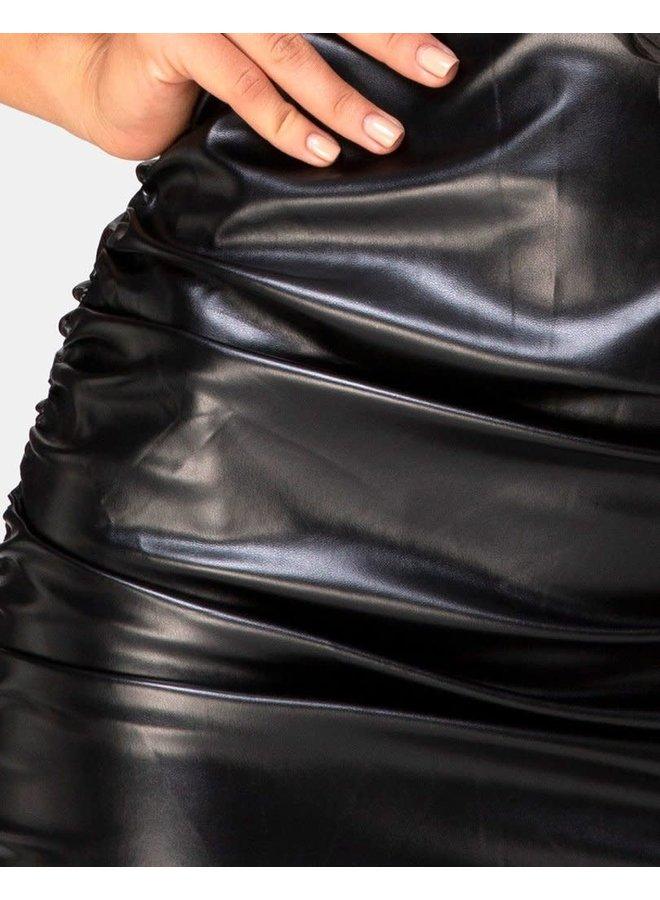 Lugano Skirt in PU Black by Motel