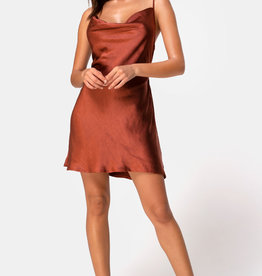 Motel Rocks Paiva Slip Dress in Satin Dark Rust by Motel