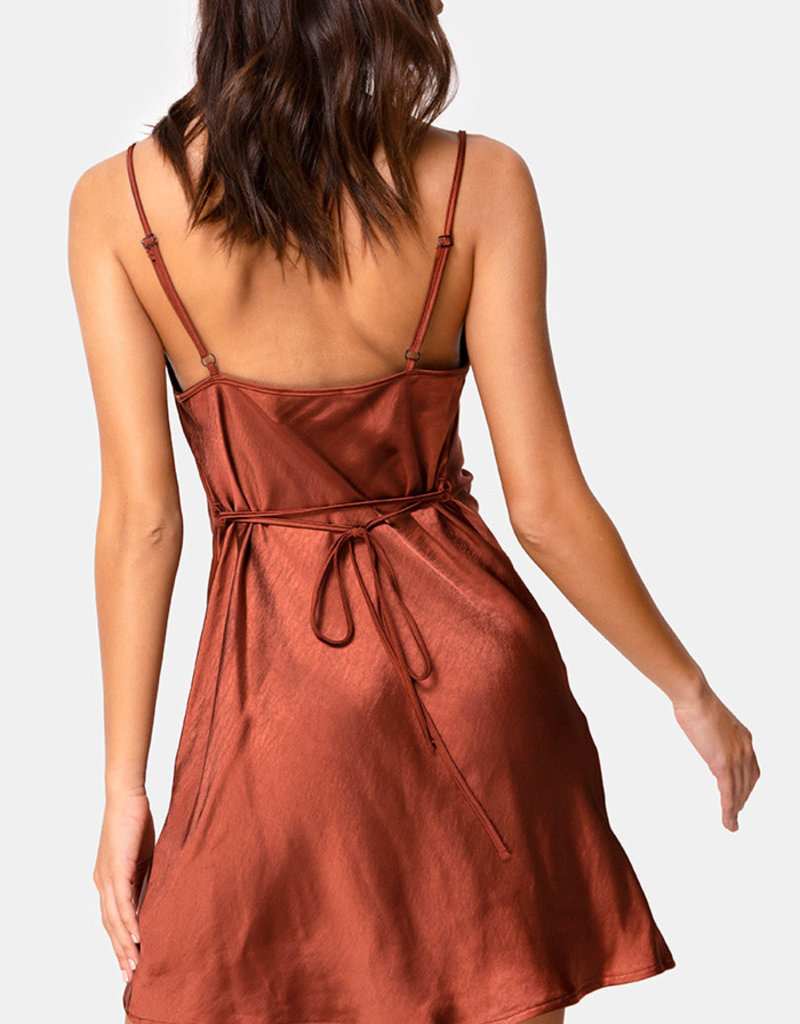Motel Rocks Paiva Slip Dress in Satin Dark Rust by Motel
