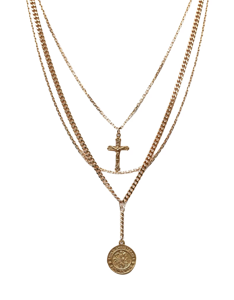 Farrah B Jewelry Guardian-3 layer relic necklace