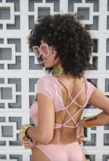 Power To The Flower Iman Ruched Crop Swim Top
